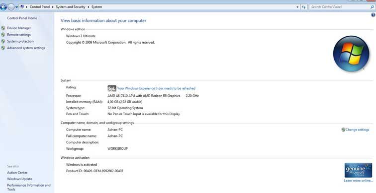 cara melihat spesifikiasi laptop di control panel