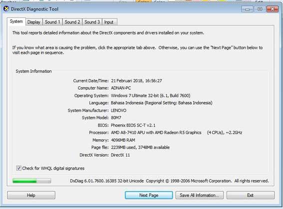 cara melihat spesifikiasi laptop di runcommand