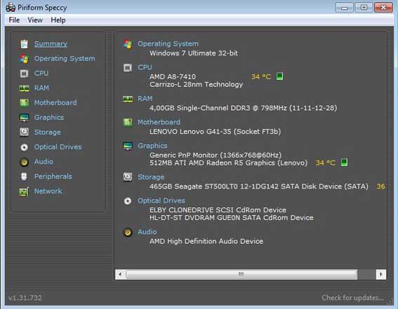 cara melihat spesifikiasi laptop dengan speecy