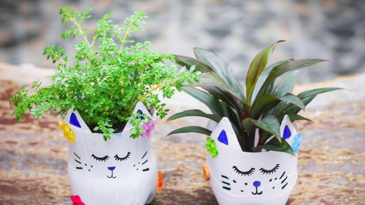cara membuat pot bunga dari botol bekas