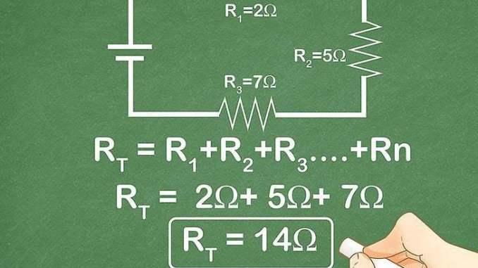 Total hambatan atau resistor pada rangkaian seri adalah jumlah total resistor.