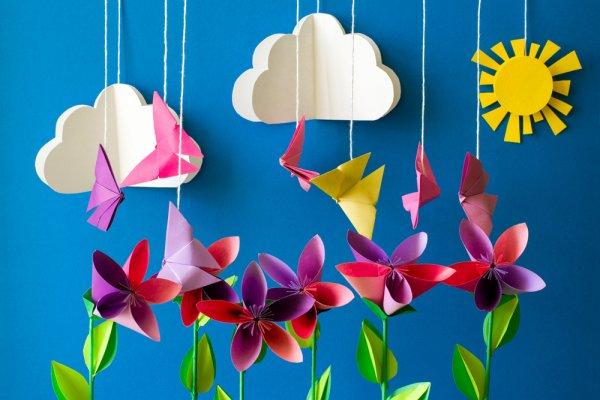 hiasan dinding kelas tk dari kertas origami